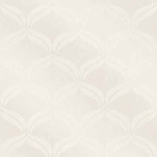 2697-87301 Brewster Wallcoverings Geometrie Petals Ogee Glass Bead Wallpaper Ivory