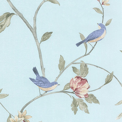 HM26329 Patton Wallcoverings Rose Garden 2 Spring Floral Wallpaper Aqua