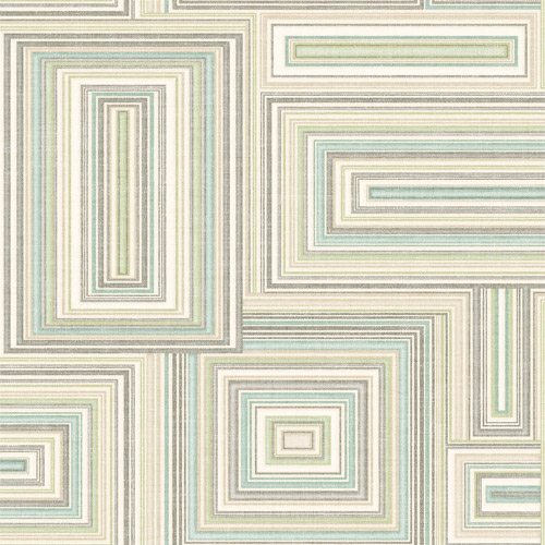 LG90504 Seabrook Wallcoverings Lugano Attersee Squares Wallpaper Blue Green