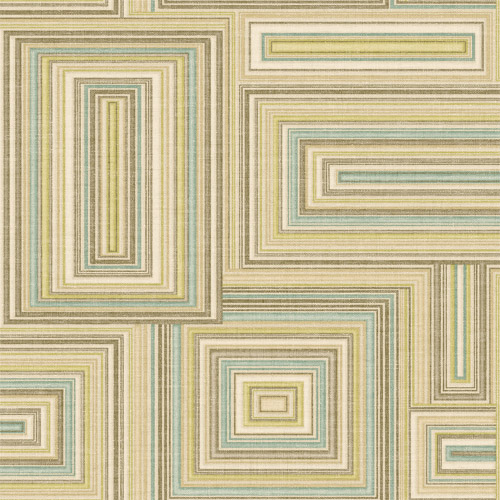 LG90507 Seabrook Wallcoverings Lugano Attersee Squares Wallpaper Green Brown