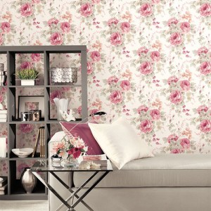 Patton Wallcoverings Rose Garden 2 Cabbage Rose Wallpaper Roomset