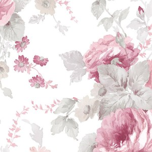 RG35722 Patton Wallcoverings Rose Garden 2 Cabbage Rose Wallpaper Mulberry