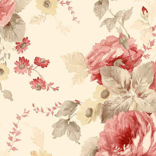 RG35728 Patton Wallcoverings Rose Garden 2 Cabbage Rose Wallpaper Vermilion