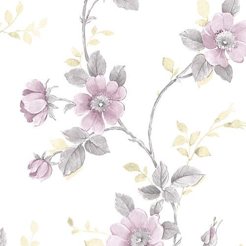 RG35729 Patton Wallcoverings Rose Garden 2 Floral Trail Wallpaper Purple