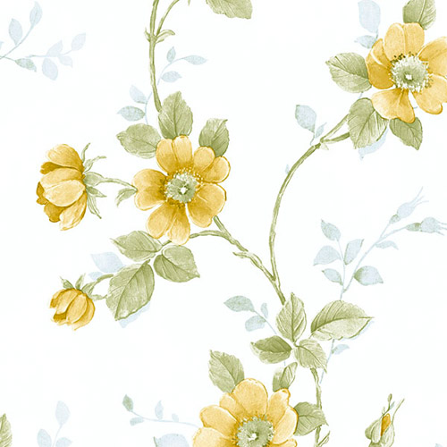 RG35730 Patton Wallcoverings Rose Garden 2 Floral Trail Wallpaper Yellow