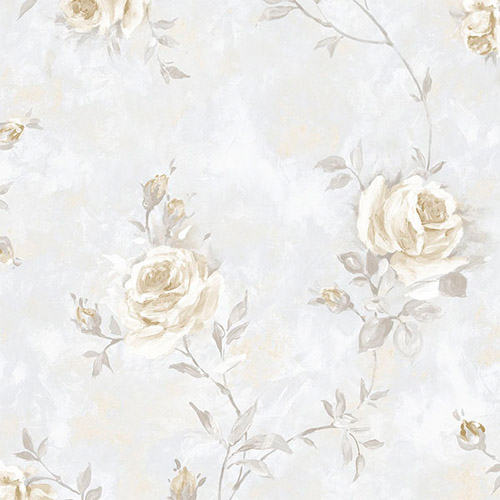 RG35735 Patton Wallcoverings Rose Garden 2 Rose Vine Wallpaper Beige