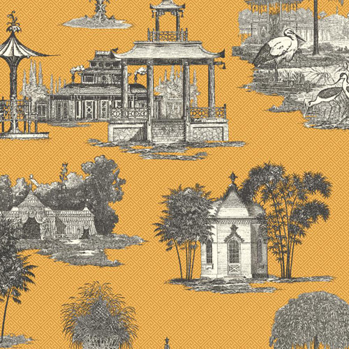 AF1916 York Wallcoverings Ashford Toiles Mandarin Dream sure strip Wallpaper Yellow