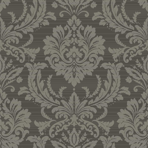 TR60100 Seabrook Wallcoverings Trois Acanthus Damask Wallpaper Charcoal