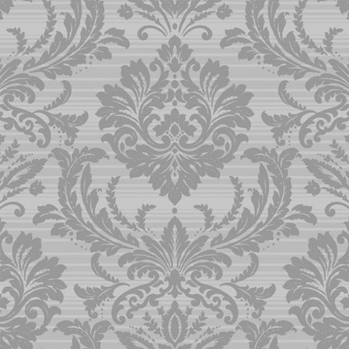 TR60101 Seabrook Wallcoverings Trois Acanthus Damask Wallpaper Silver