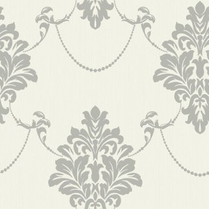 TR60306 Seabrook Wallcoverings Trois French Damask Wallpaper Silver Grey