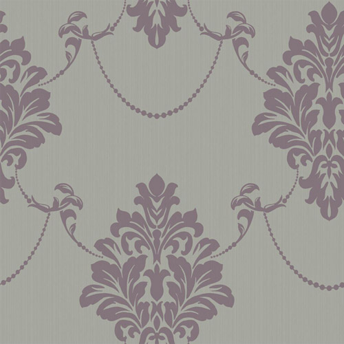 TR60309 Seabrook Wallcoverings Trois French Damask Wallpaper Amethyst