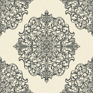 TR60502 Seabrook Wallcoverings Trois Mandala Wallpaper Black