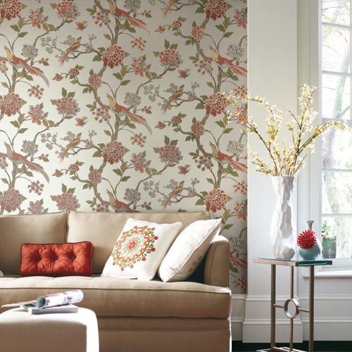 York Wallcoverings Ashford Toiles Fanciful sure strip Wallpaper Roomset