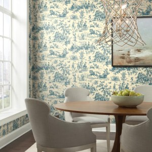York Wallcoverings Ashford Toiles Seasons Toile Wallpaper Roomset