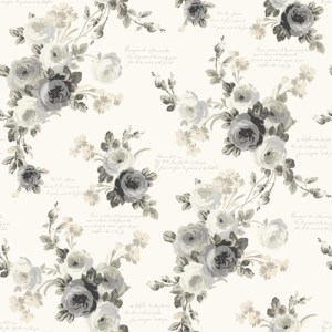 MH1524 York Wallcoverings Joanna Gaines Magnolia Home Heirloom Rose Wallpaper Gray