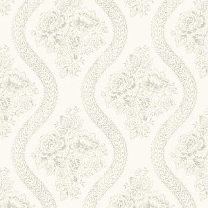 MH1595 York Wallcoverings Joann Gaines Magnolia Home Coverlet Floral Wallpaper Beige