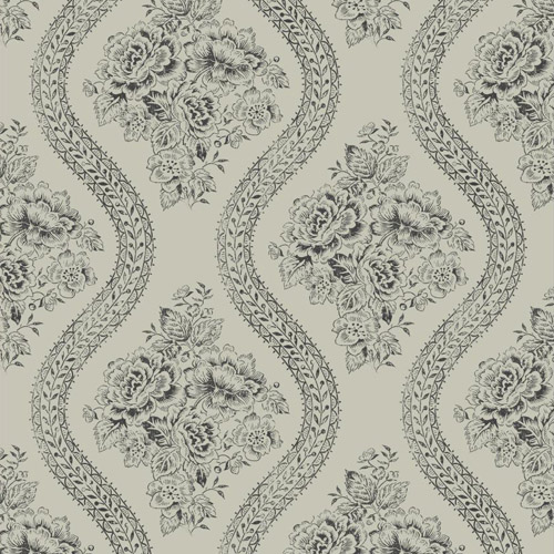 MH1599 York Wallcoverings Joann Gaines Magnolia Home Coverlet Floral Wallpaper Taupe