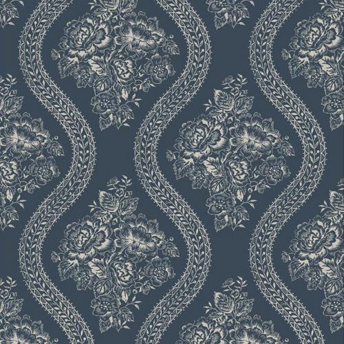 MH1603 York Wallcoverings Joann Gaines Magnolia Home Coverlet Floral Wallpaper Dark Blue