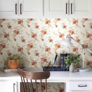 York Wallcoverings Joanna Gaines Magnolia Home Heirloom Rose Wallpaper Roomset
