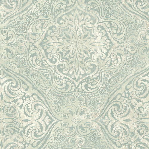 MK20602 Seabrook Wallcoverings Metallika Palladium Medallion Wallpaper Sea Glass