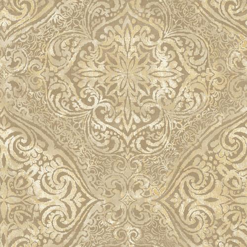 MK20605 Seabrook Wallcoverings Metallika Palladium Medallion Wallpaper Gold