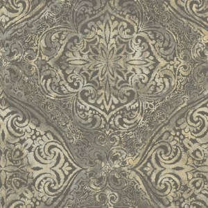 MK20606 Seabrook Wallcoverings Metallika Palladium Medallion Wallpaper Taupe