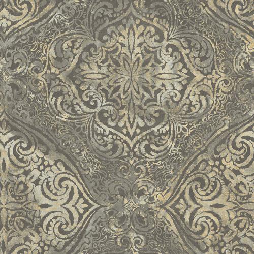 MK20606 Seabrook Wallcoverings Metallika Palladium Medallion Wallpaper Taupe