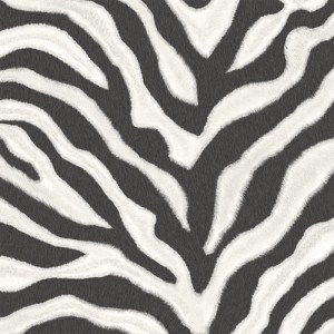 G67491 Patton Wallcoverings Natural FX Zebra Skin Wallpaper Black and White