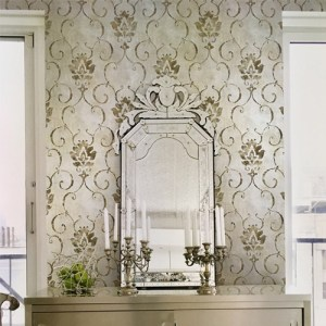 Seabrook Wallcoverings Metallika Brilliant Damask Wallpaper Roomset