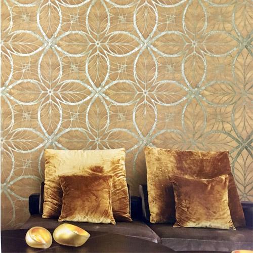 Seabrook Wallcoverings Metallika Patina Leaf Wallpaper Roomset