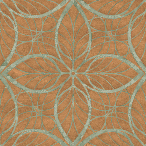 MK20504 Seabrook Wallcoverings Metallika Patina Leaf Wallpaper Copper