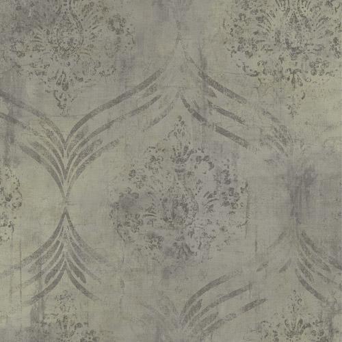MK21206 Seabrook Wallcoverings Metallika Brilliant Ogee Wallpaper Taupe