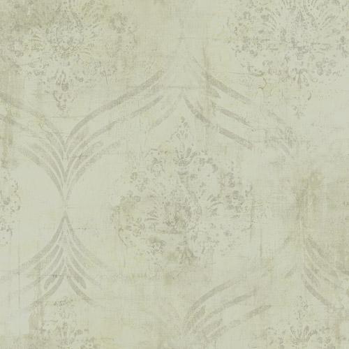 MK21207 Seabrook Wallcoverings Metallika Brilliant Ogee Wallpaper Beige