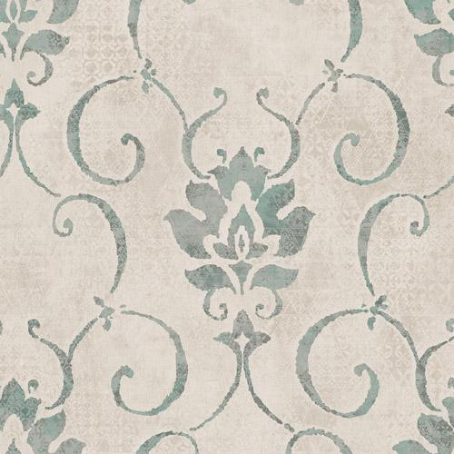MK21504 Seabrook Wallcoverings Metallika Brilliant Damask Wallpaper Turquoise