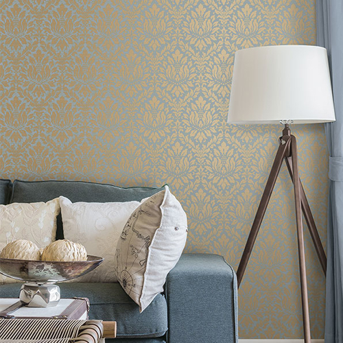 Patton Wallcoverings Stripes and Damasks 3 Linen Acanthus Wallpaper Roomset