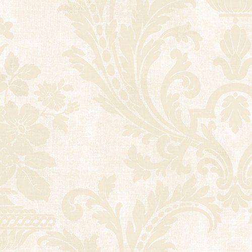 SD36156 Patton Wallcoverings Stripes and Damasks 3 Floral Urn Wallpaper Beige