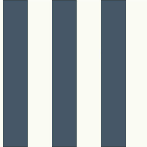 MH1591 York Wallcoverings Joanna Gaines Magnolia Home Awning Stripe Wallpaper Dark Blue