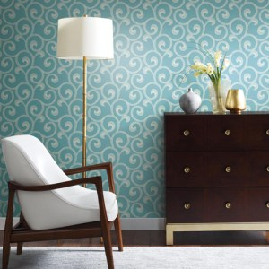 York Wallcoverings Williamsburg 3 Hampton Scroll Wallpaper Roomset