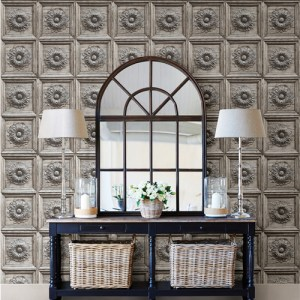Brewster Wallcoverings A Street Prints Restored Ravenswood Wood Panel Wallpaper Roomset