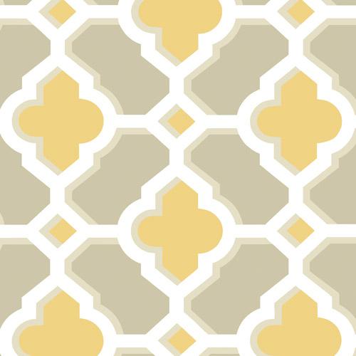 2744-24124 Brewster Wallcoverings Solstice Lido Quatrefoil Wallpaper Mustard