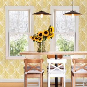 Brewster Wallcoverings Solstice Balangan Damask Wallpaper Roomset