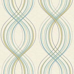 RL60204 Seabrook Wallcoverings Retro Living Jeannie Wallpaper Aqua