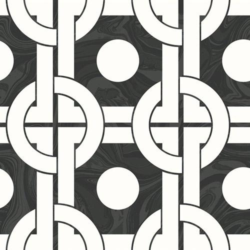 RL60800 Seabrook Wallcoverings Retro Living Mindy Wallpaper Black