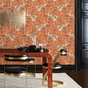 York Wallcoverings Dwell Studio Plumes Wallpaper Room Setting