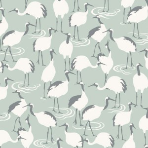 DR6356 York Wallcoverings Dwell Studio Winter Cranes Wallpaper Aqua