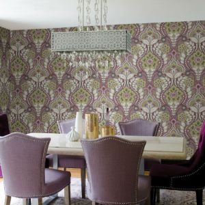 Brewster Wallcoverings Moonlight Night Bloom Damask Wallpaper Room Setting