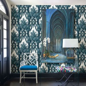 Brewster Wallcoverings A Street Prints Moonlight Dreamer Damask Wallpaper Room Setting