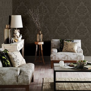 Brewster Wallcoverings A Street Prints Moonlight Shadow Damask Wallpaper Room Setting