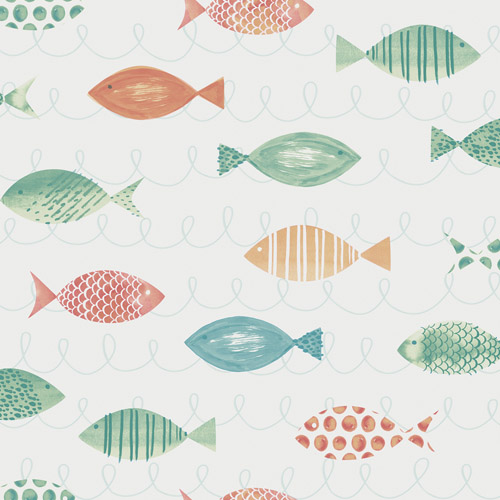 3113-12041 Brewster Wallcoverings Chesapeake Seaside Living Key West Fish Wallpaper Aqua