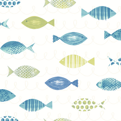 3113-12042 Brewster Wallcoverings Chesapeake Seaside Living Key West Fish Wallpaper Green